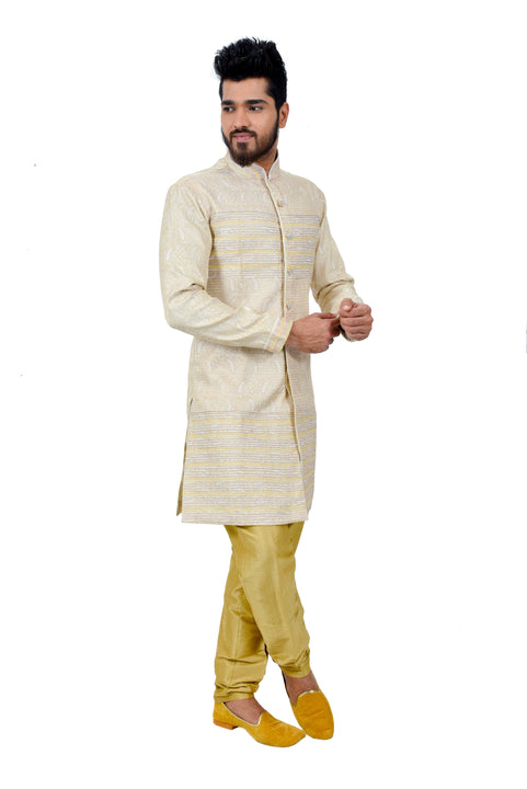 Cream Brocade Silk Traditional Indian Wedding Indo-Western Sherwani for Men