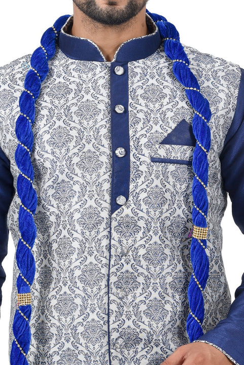 Blue Cotton Brocade Silk Traditional Indian Wedding Indo-Western Sherwani for Men
