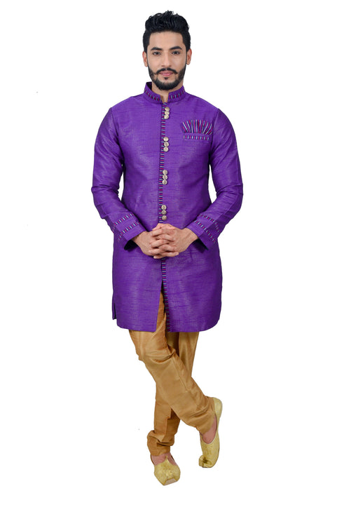 Dark Violet Silk Traditional Indian Wedding Indo-Western Sherwani for Men