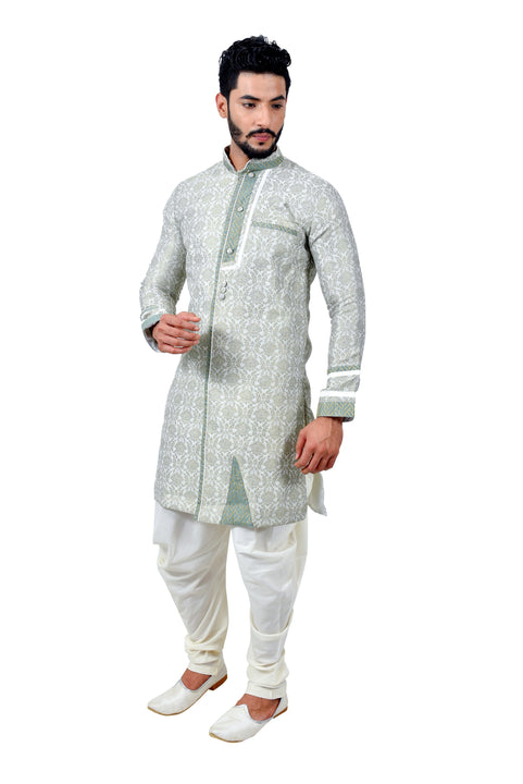 Sea Green Cotton Brocade Silk Traditional Indian Wedding Indo-Western Sherwani for Men