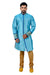 Peacockblue Silk Traditional Indian Wedding Indo-Western Sherwani for Men