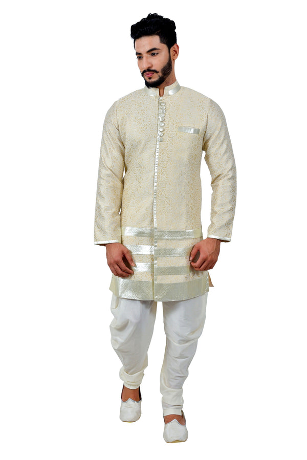 Cream Cotton Brocade Silk Traditional Indian Wedding Indo-Western Sherwani for Men