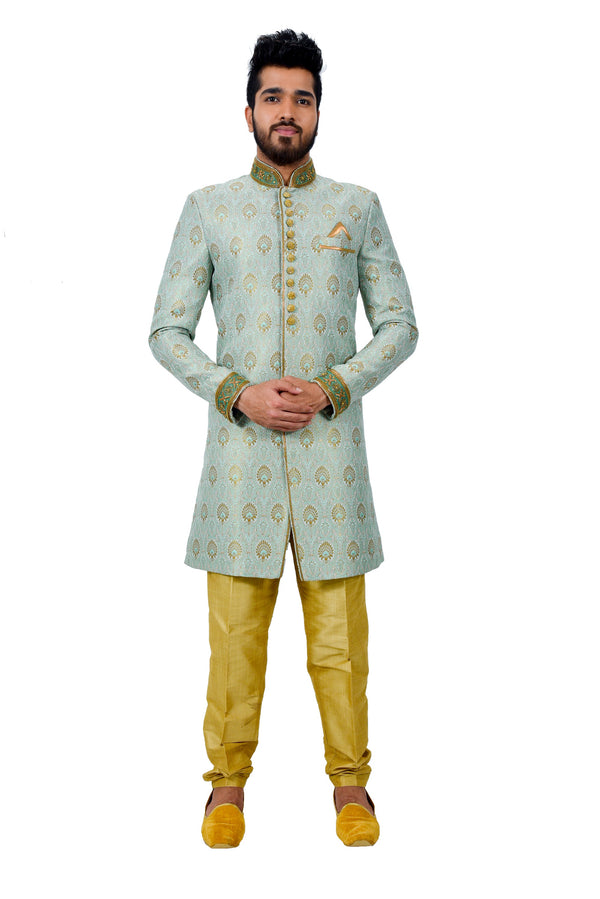 Multi Zari Brocade Silk Traditional Indian Wedding Indo-Western Sherwani for Men