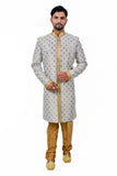 Multi Cotton Brocade Silk Traditional Indian Wedding Indo-Western Sherwani for Men
