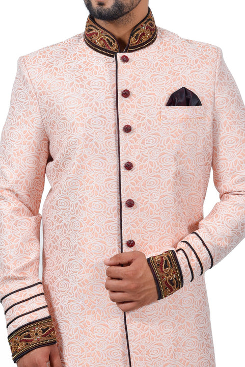 Salmon Cotton Brocade Silk Traditional Indian Wedding Indo-Western Sherwani for Men