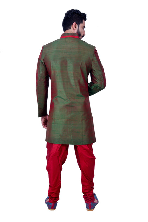 Deep Jungle Green Silk Traditional Indian Wedding Indo-Western Sherwani for Men