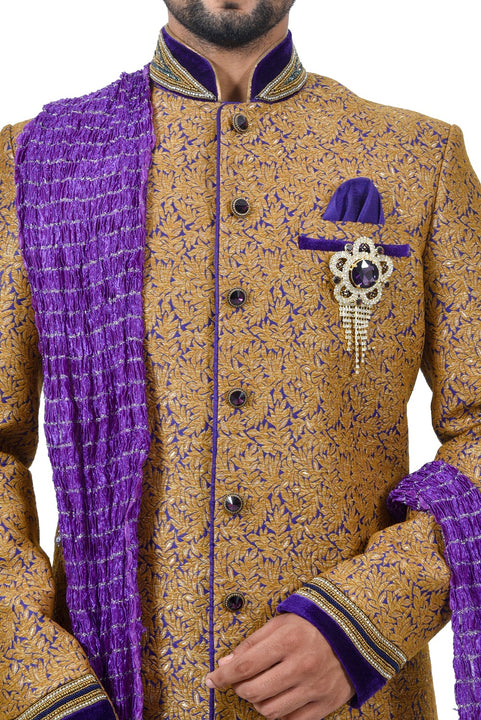 Camel Juti Brocade Silk Traditional Indian Wedding Indo-Western Sherwani for Men