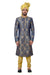 Blue Kinkhab Brocade Silk Traditional Indian Wedding Indo-Western Sherwani for Men