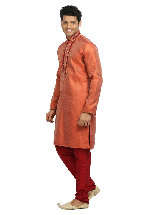 Saffron Indian Wedding Kurta Pajama Sherwani for Men