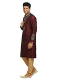 Maroon Indian Wedding Kurta Pajama Sherwani for Men