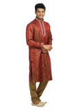 Tomato Red Indian Wedding Kurta Pajama Sherwani for Men