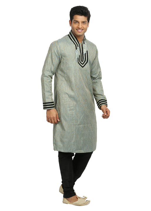 Silver Grey Indian Wedding Kurta Pajama Sherwani for Men