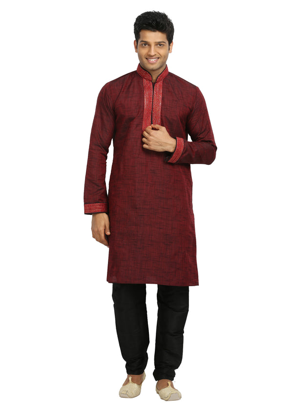 Maroon Indian Wedding Kurta Pajama Sherwani - Indian Ethnic Wear for Men