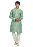 Aquamarine Cotton Linen Indian Wedding Kurta Pajama Sherwani - Indian Ethnic Wear for Men