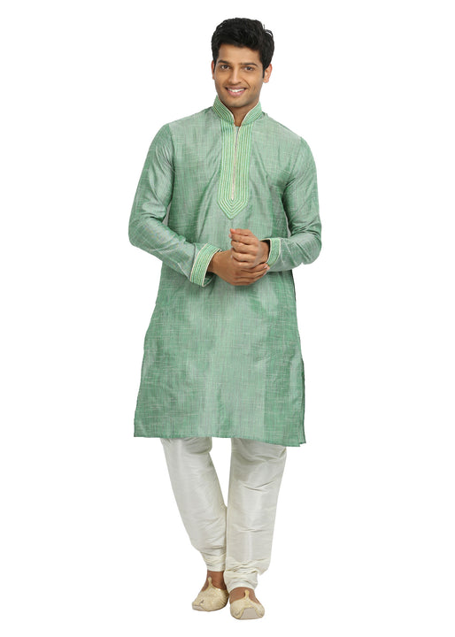 Aquamarine Cotton Linen Indian Wedding Kurta Pajama for Men
