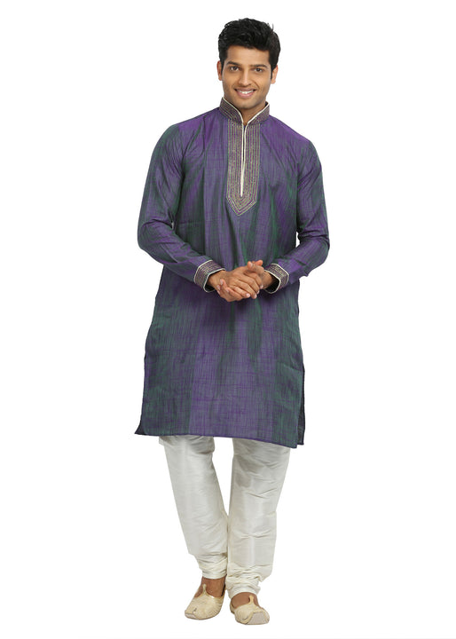 Medium Purple & Green Cotton Linen Indian Kurta Pajama for Men