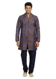 Chocolate Blue Trendy Indian Wedding Kurta Pajama Sherwani - Indian Ethnic Wear for Men