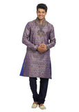 Tan Blue High Neck Indian Wedding Kurta Pajama for Men