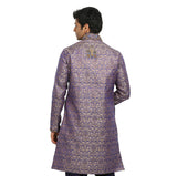 Tan Blue High Neck Indian Wedding Kurta Pajama Sherwani - Indian Ethnic Wear for Men