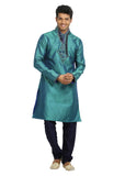 Turquoise Indian Wedding Kurta Pajama Sherwani - Indian Ethnic Wear for Men
