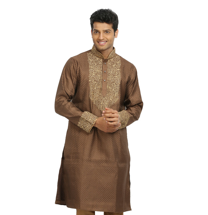 Sienna Coffee Indian Wedding Kurta Pajama Sherwani - Indian Ethnic Wear for Men