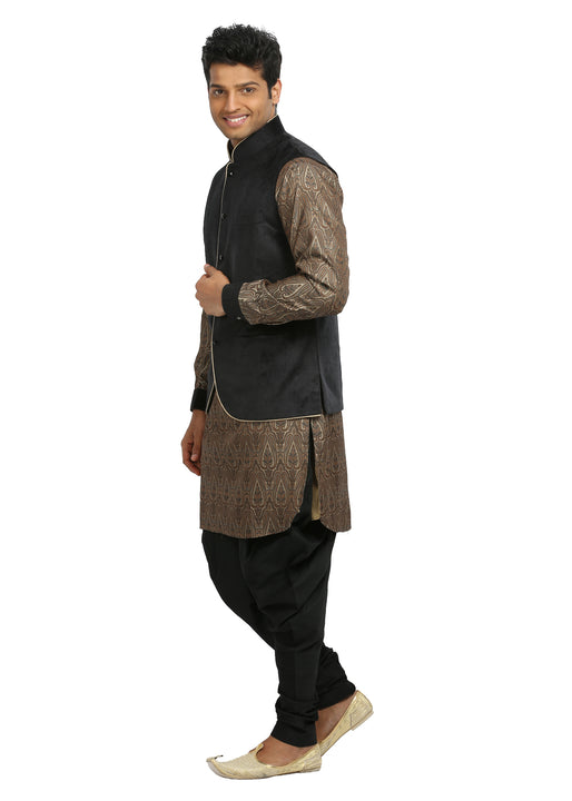 Men's Sandstone & Black Wedding Kurta Pajama with Jacket