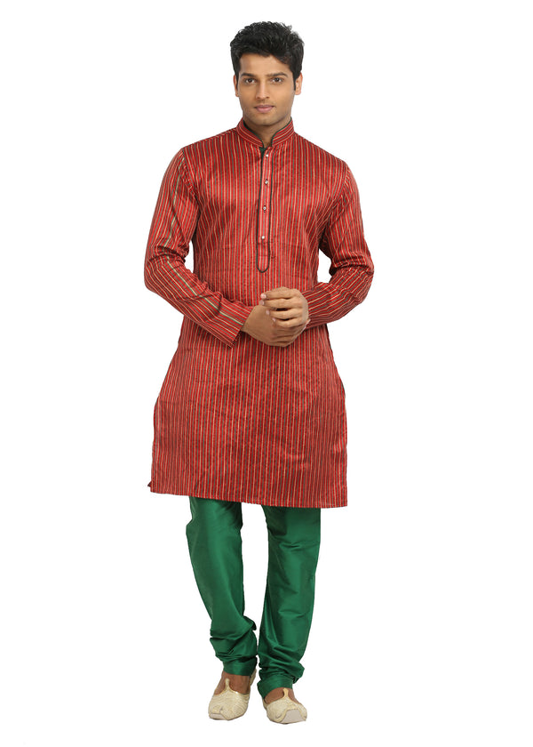 Red Pinstripes Indian Wedding Kurta Pajama Sherwani - Indian Ethnic Wear for Men