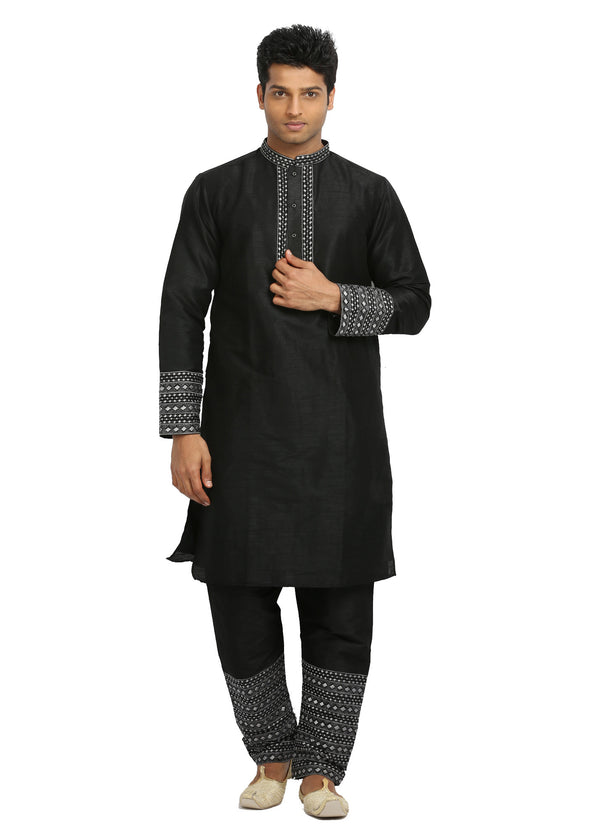 Groomsmen Black Kurta Pajama Set