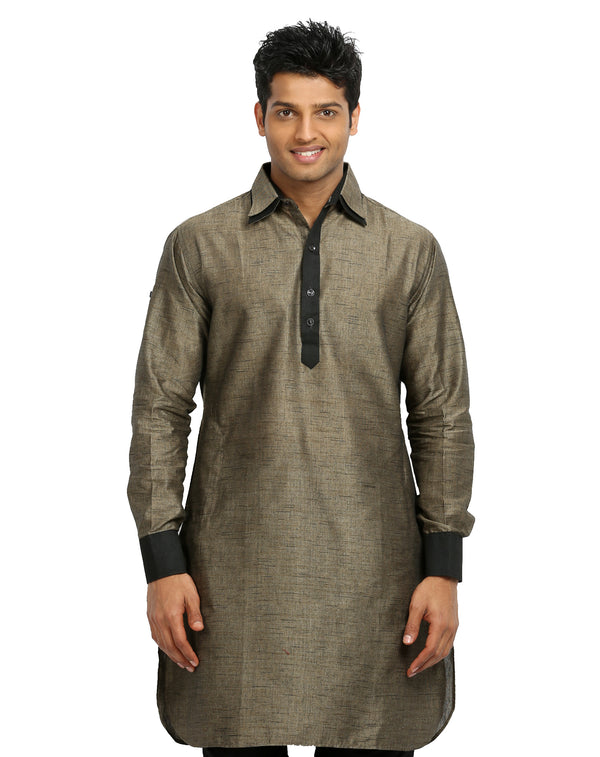 Dark Tan Pathani Kurta Sherwani - Indian Ethnic Wear for Men