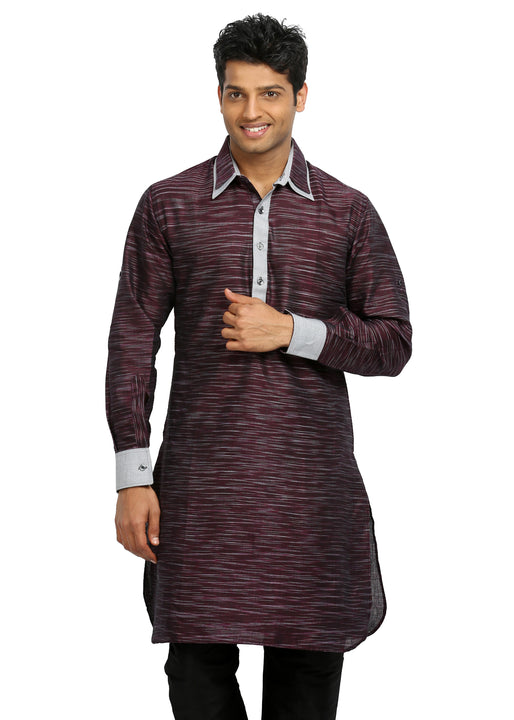 Berry Pathani Kurta Sherwani - Indian Ethnic Wear for Men