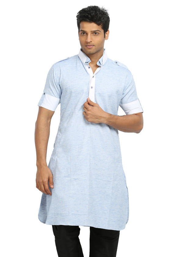 Cool Blue Cotton Fabric Pathani Kurta for Men