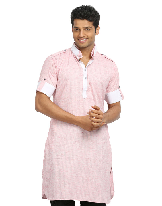 Light Pink Cotton Fabric Pathani Kurta for Men