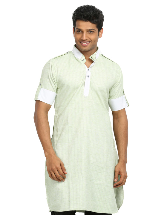 Light Green Cotton Fabric Pathani Kurta for Men