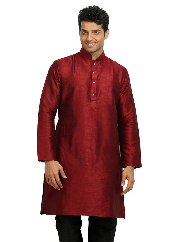 Maroon Silk Pathani Kurta for Men