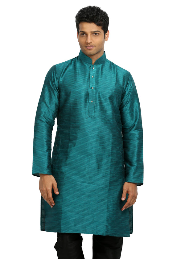 Teal Silk Pathani Kurta for Men