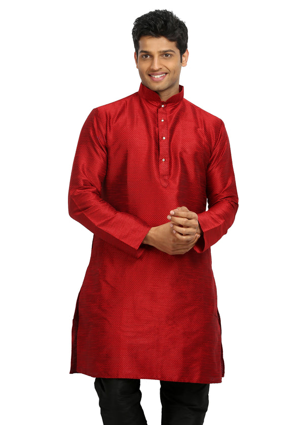 Red Silk Pathani Kurta for Men