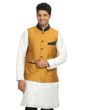 Gold Yellow Nehru Jacket for Men