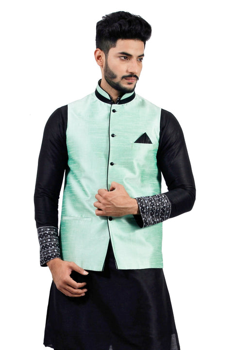 Saris and Things Light Green Nehru Jacket for Men