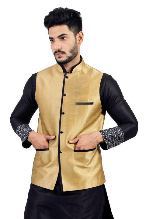 Saris and Things Darkgoldenrod Nehru Jacket for Men