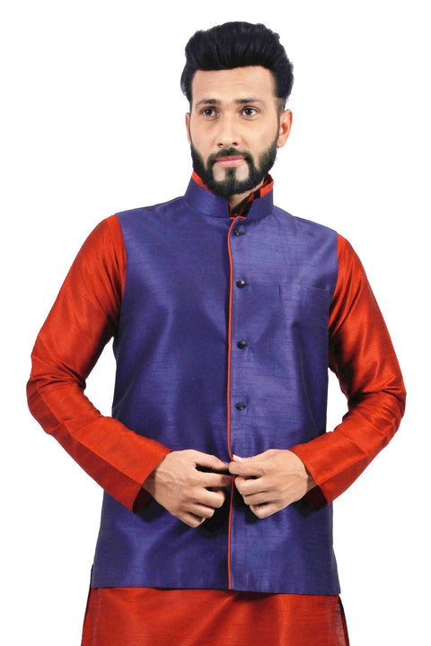 Saris and Things Navy Blue Nehru Jacket for Men