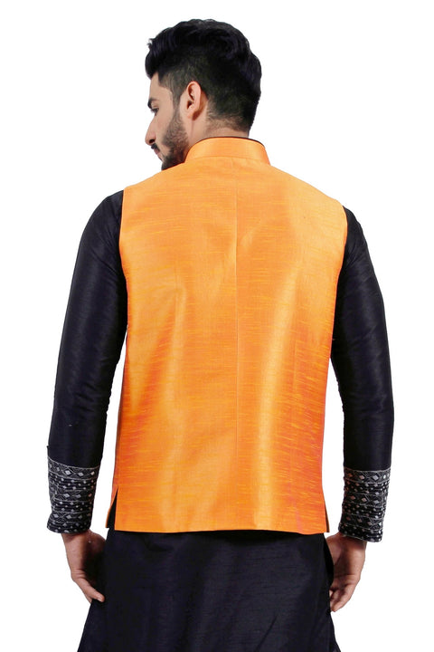 Saris and Things Tangerine Orange Nehru Jacket for Men