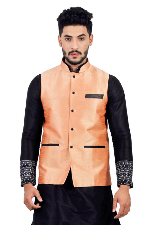 Saris and Things Salmon Nehru Jacket for Men