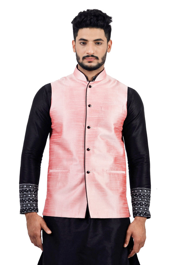 Saris and Things Bubblegum Nehru Jacket for Men