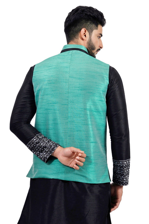 Saris and Things Darkcyan Nehru Jacket for Men