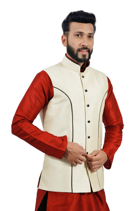 Saris and Things Cream Nehru Jacket for Men