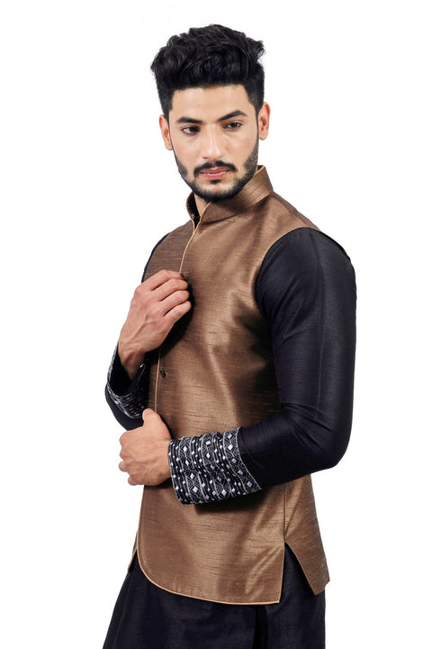 Saris and Things Sienna Coffee Nehru Jacket for Men
