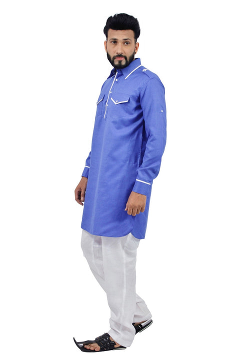 Saris and Things Blue Pathani Suit for Men