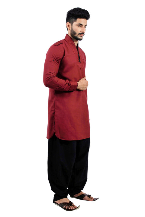 Saris and Things Maroon Pathani Suit for Men