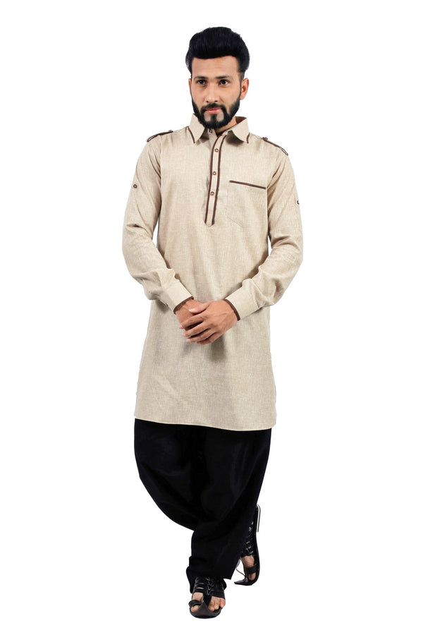 Saris and Things Dark Khaki Pathani Suit for Men