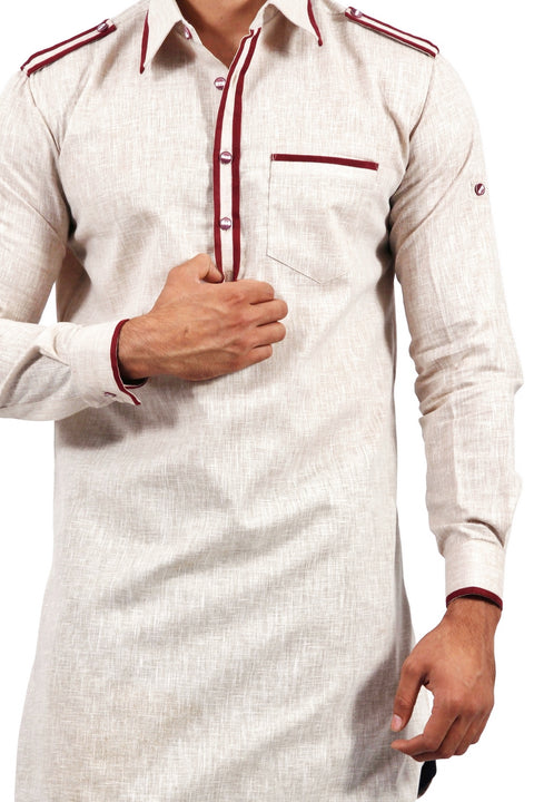 Saris and Things Almond Pathani Suit for Men